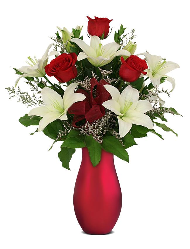 Buchete De Flori Buchet De Trandafiri Rosii Si Crini Albi